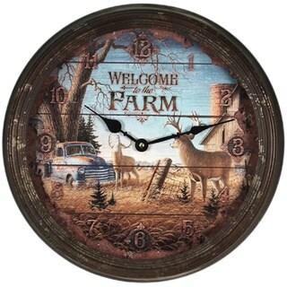"River's Edge 15"" Rusty Metal Clock - Welcome Deer|https://ak1.ostkcdn.com/images/products/9170019/P16346861.jpg?_ostk_perf_=percv&impolicy=medium"