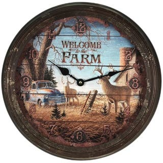 "River's Edge 15"" Rusty Metal Clock - Welcome Deer