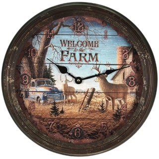 "River's Edge 15"" Rusty Metal Clock - Welcome Deer"
