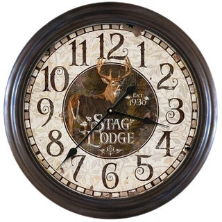 "River's Edge 26"" Distressed Stag Lodge Clock"