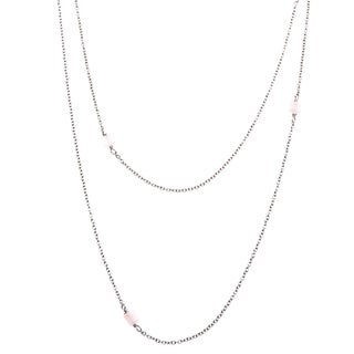Lily Stainless Steel Rose Quartz Beaded Necklace