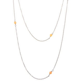Carmen Stainless Steel Orange Agate Beaded Necklace