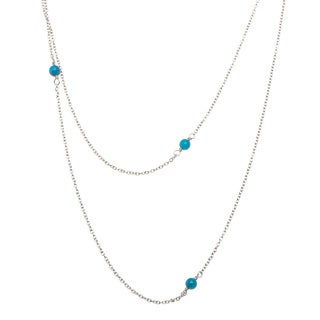 Pippa Stainless Steel Cabochon Apatite Beaded Necklace