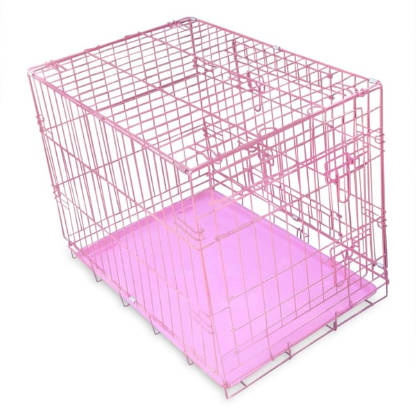 Pink 30 Inch Heavy Duty Metal Folding Dog Crate With 2