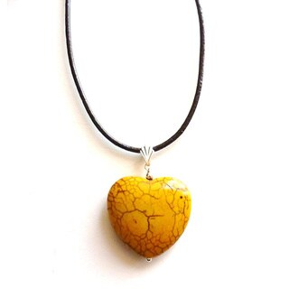 Yellow Turquoise Heart and Leather Cord Necklace