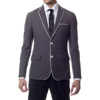 Zonettie by Ferrecci Men's Slim Fit Grey Knit Traveler Blazer Jacket