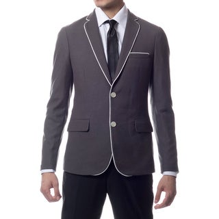 Link to Zonettie by Ferrecci Men's Slim Fit Grey Knit Traveler Blazer Jacket Similar Items in Sportcoats & Blazers