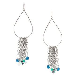 Capri Sterling Silver Peacock Agate Fringe Earrings