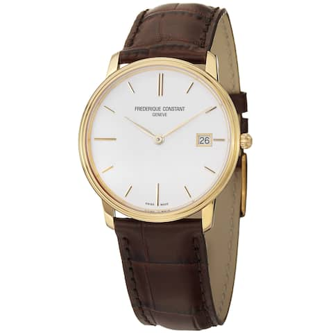 Frederique Constant Men's 'Slim Line' White Dial Brown Leather Strap Watch
