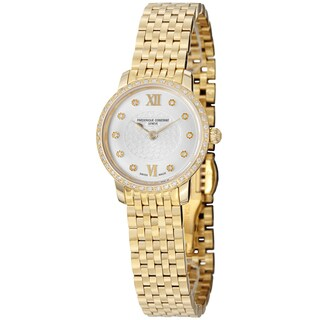 Frederique Constant Women's FC-200WHDSD5B 'Slim Line' Silver Diamond Dial Goldtone Stainless Steel Watch