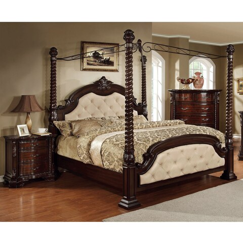 Furniture of America Kassania Luxury 2-piece Poster Canopy Bed with Nightstand Set