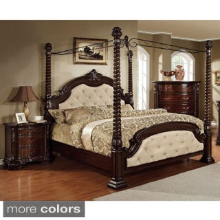 Furniture Of America Kassania Luxury 2 Piece Poster Canopy Bed With  Nightstand Set