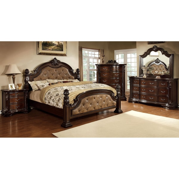Bedroom Sets Luxury furniture of america kassania luxury 4-piece leatherette bedroom