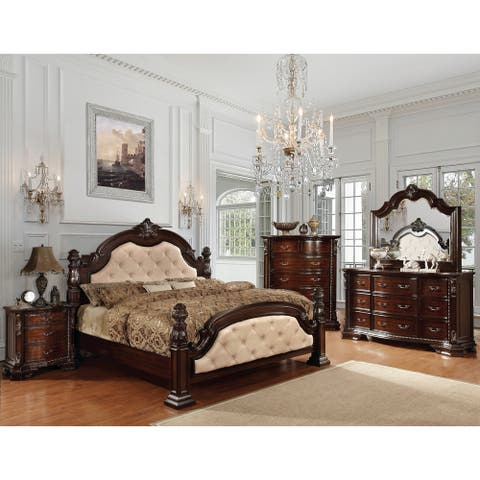 Furniture of America Vace Traditional Solid Wood 4-piece Bedroom Set