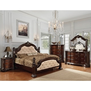 Furniture Of America Kassania Luxury 4 Piece Leatherette Bedroom Set  (Option: King)