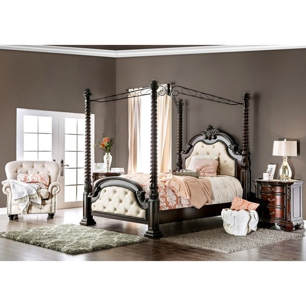 Queen and King Sized Beds Master bed with canopy and embroidered headboard.  Scarlet red