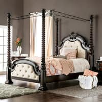 Furniture of America Kassania Luxury Leatherette Poster Canopy Bed
