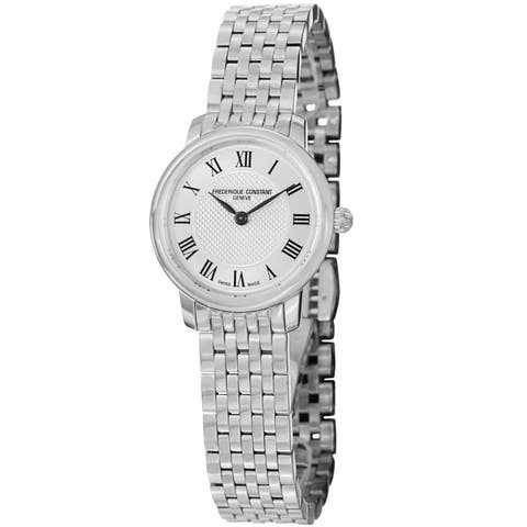 Frederique Constant Women's 'Slim Line' Silver Dial Stainless Steel Watch