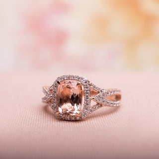 10k Rose Gold Cushion-Cut Morganite and 1/6ct TDW Diamond Crossover Engagement Ringby The Miadora Signature Collection
