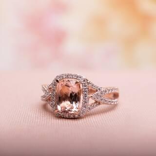 Miadora Signature Collection 10k Rose Gold Cushion-Cut Morganite and 1/6ct TDW Diamond Crossover Engagement Ring (G-H, I1-I2)|https://ak1.ostkcdn.com/images/products/9170121/Miadora-10k-Rose-Gold-Morganite-and-1-6ct-TDW-Diamond-Ring-G-H-I1-I2-P16346962.jpg?impolicy=medium