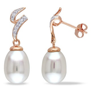 Miadora 10k Rose Gold White Cultured Freshwater Pearl and 1/8ct TDW Diamond Earrings (H-I, I2-I3) (9-9.5 mm)