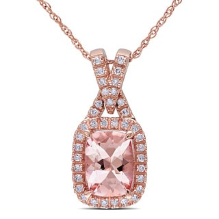 Miadora 10k Rose Gold Cushion-cut Morganite and 1/6ct TDW Diamond Necklace (G-H, I1-I2)