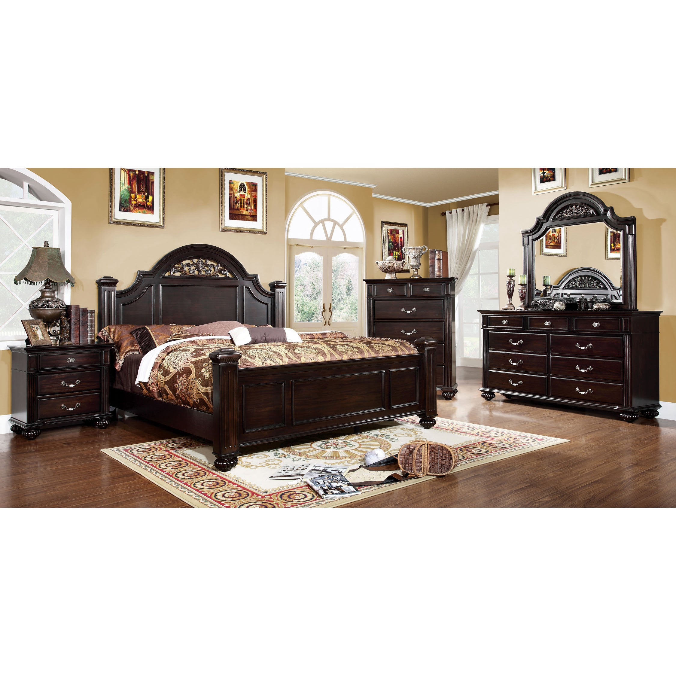 Furniture Of America Grande 4 Piece Dark Walnut Bedroom Set (3 Options  Available)