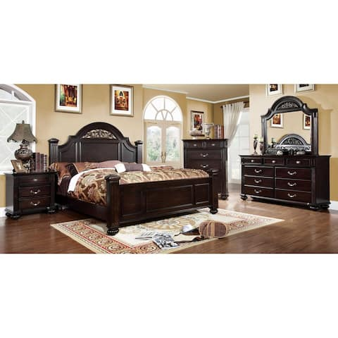 Furniture of America Vame Traditional Walnut 4-piece Bedroom Set