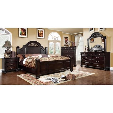 Grande Traditional Dark Walnut 4-Piece Bedroom Set by FOA