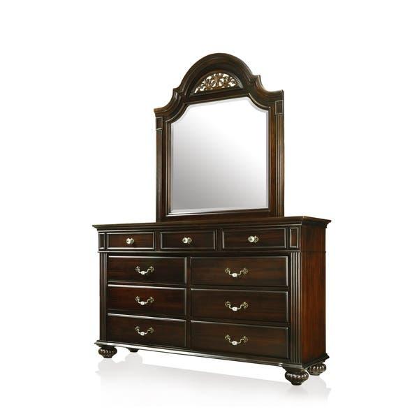 Furniture of America Vame Traditional Walnut 2-Piece Bedroom Set California King