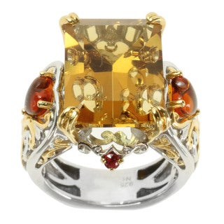 Michael Valitutti Two-tone 'Bubbles' Carved Citrine, Amber and Orange Sapphire Ring