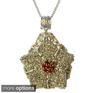 Michael Valitutti Two-tone Choice of Druzy and Gemstone 'Flower' Necklace (Option: Rhodolite)