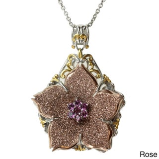 Michael Valitutti Two-tone Choice of Druzy and Gemstone 'Flower' Necklace