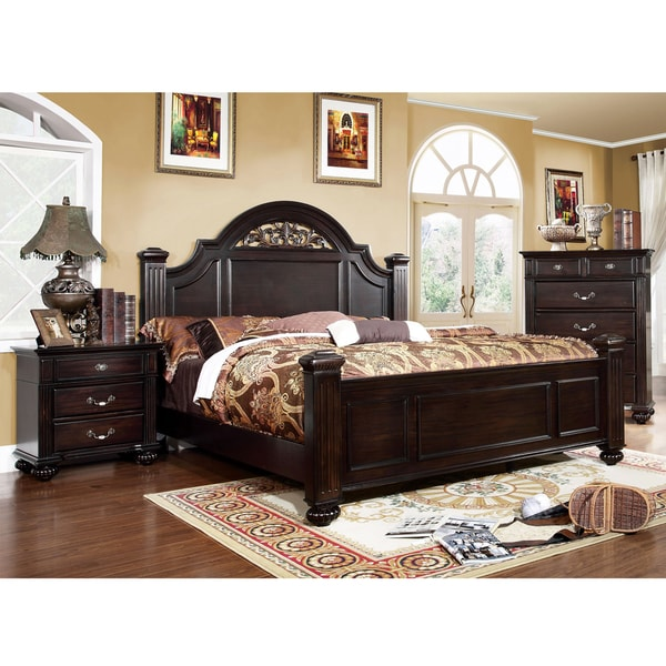 Furniture of america grande 3 piece dark walnut bed set for American black walnut bedroom furniture