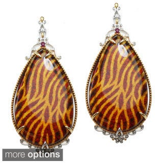 Michael Valitutti Two-tone Carved 'Animal-print' Amber and Ruby Earrings