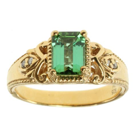 Michael Valitutti Gold over Silver Green Tourmaline and Diamond Accent Ring