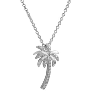 Fremada Rhodium Plated Sterling Silver Diamond Accent Palm Tree Necklace (18 inch)