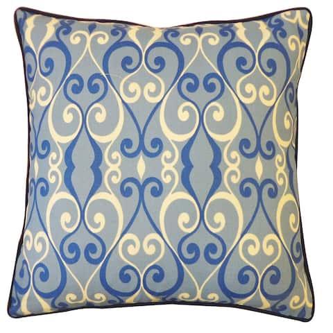 Jiti Blue Geometric Velvet Outdoor Pillow - 20 x 20