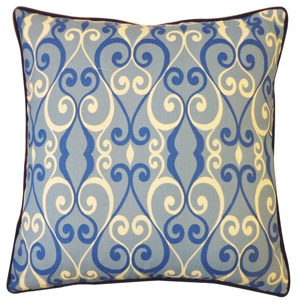 Jiti Blue Geometric Velvet Outdoor Pillow - 20 x 20. Opens flyout.
