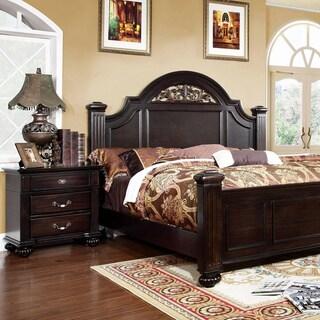 Furniture of America Grande 2-Piece Dark Walnut Bed with Nightstand Set