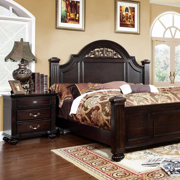 Grande Traditional Dark Walnut 2 Piece Bedroom Set