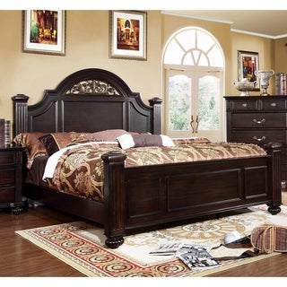 Furniture of America Vame Traditional Walnut Solid Wood Panel Bed