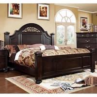 Furniture of America Grande Dark Walnut Oval Floral Platform Bed