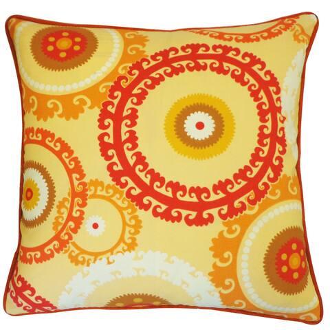 Handmade Buttons Orange Pillow
