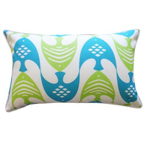 Jiti Green Nautical & Coastal Tropical Sunbrella Outdoor Pillow - 12 x 20