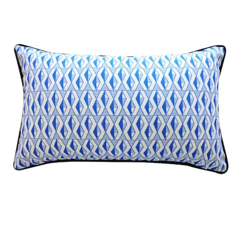 Jiti Blue Transitional Geometric Sunbrella Outdoor Pillow - 12 x 20
