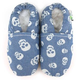 Denim Skulls Soft Leather Sole Blue Baby Shoes
