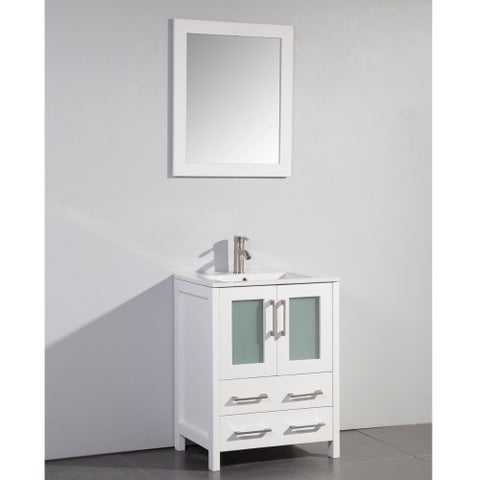 Ceramic Top 24-inch Sink Bathroom Vanity White and Matching Mirror