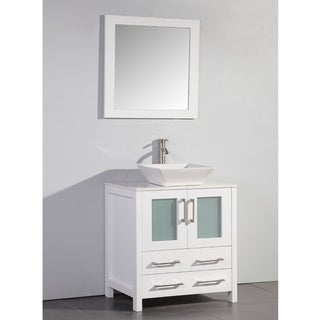 White Artificial Stone Top 30-inch Vessel Sink White Bathroom Vanity and Matching Framed