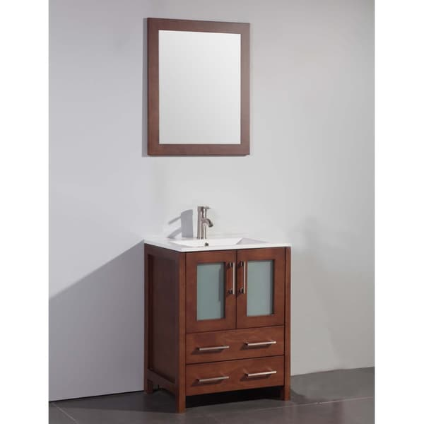 ceramic top 24 inch sink cherry bathroom vanity and matching framed